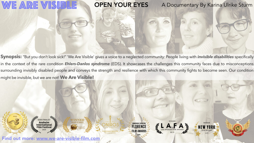 Flyer for 'We Are Visible' featuring black and white pictures of the main contributors, all women and two children, as well as film award laurels, and the synopsis of the film.